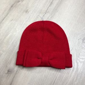 Kate Spade Charm Red Bow Beanie Sweater Knit Hat